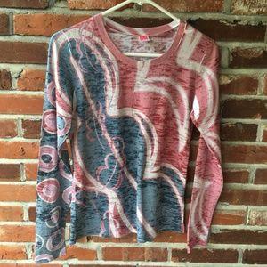 Before + Again Long-Sleeve TShirt Pink Blue XS